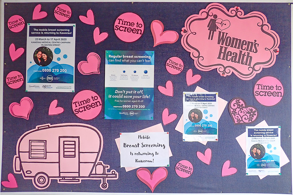 photo of breast screen promotion display in the waiting room